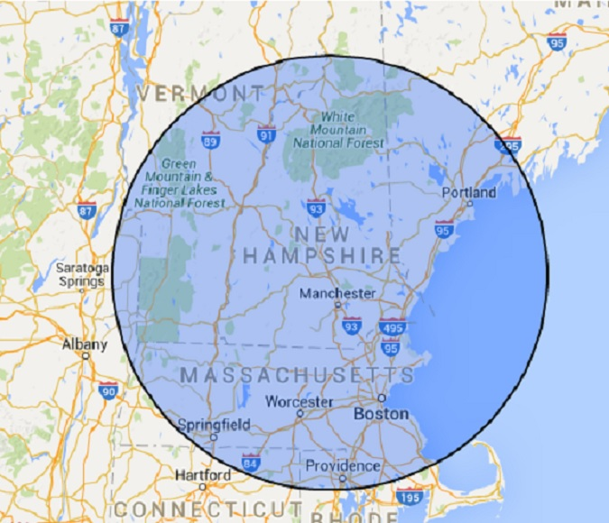 A+ Movers and Removers local area covers 100 miles radius of Concord NH